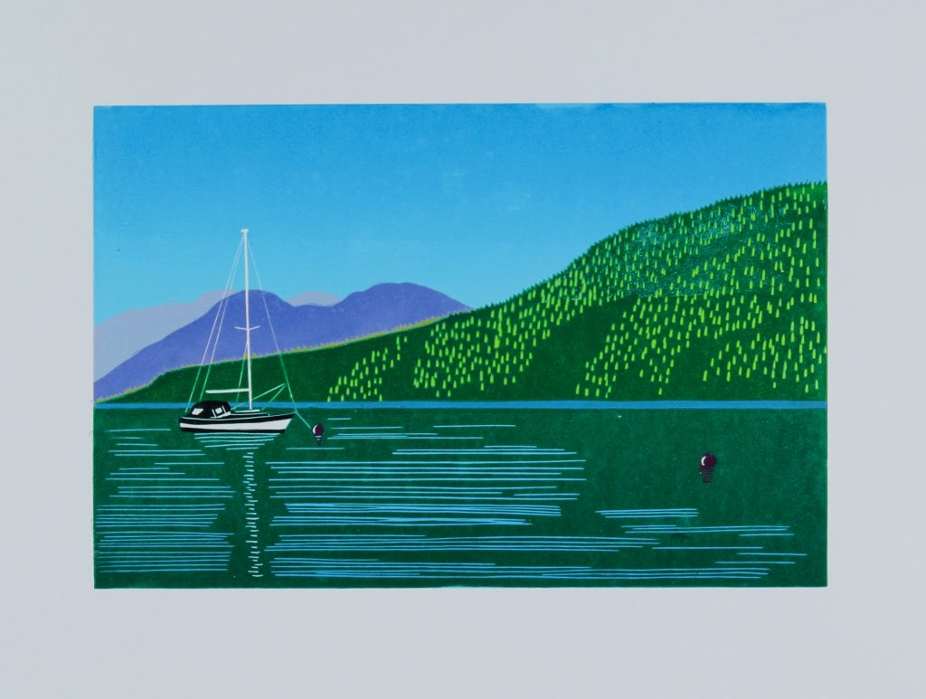 Holy Loch, Argyll & Bute Reduction Linocut (20cm x 30cm)