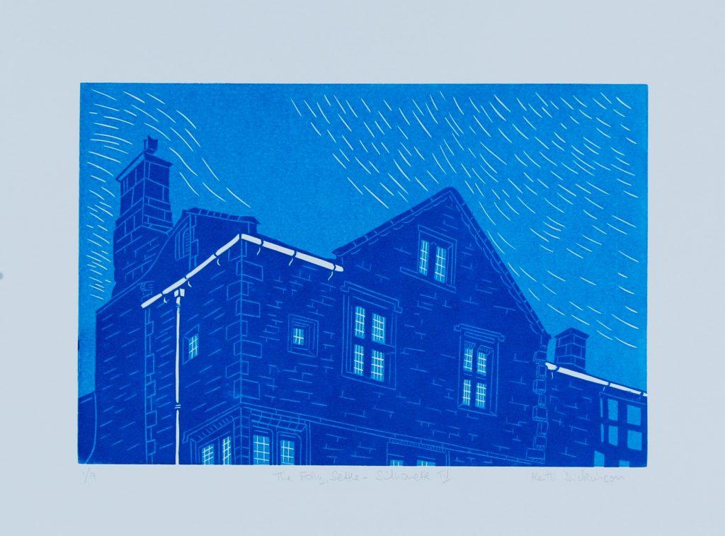 The Folly, Settle – Silhouette III_ Reduction Linocut (20cm x 30cm)