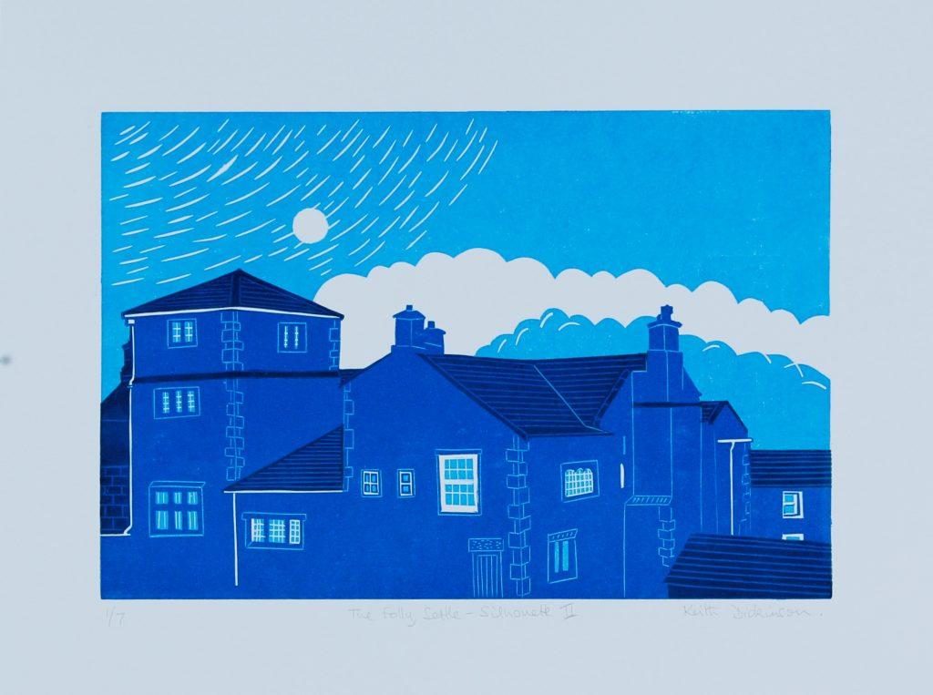 The Folly, Settle – Silhouette II_ Reduction Linocut (20cm x 30cm)