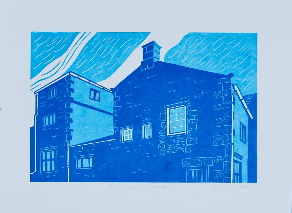 The Folly, Settle – Silhouette I_ Reduction Linocut (20cm x 30cm)