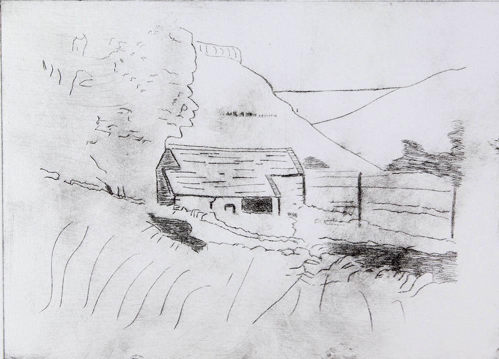 Barn near Gordale Scar - Drypoint