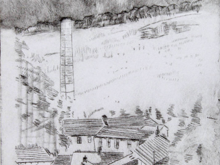 Mill Chimney, Lothersdale - Drypoint