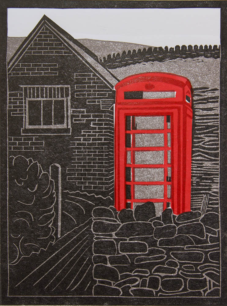 Telephone Box, Lothersdale - Linocut - Multi-Block & Reduction