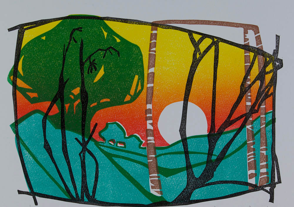 Rising Moon (after Laura Boswell) - Linocut - Multi-Block & Reduction