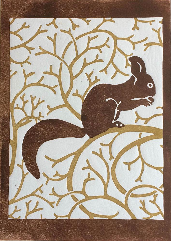 Squirrel- Two-Colour Reduction Linocut