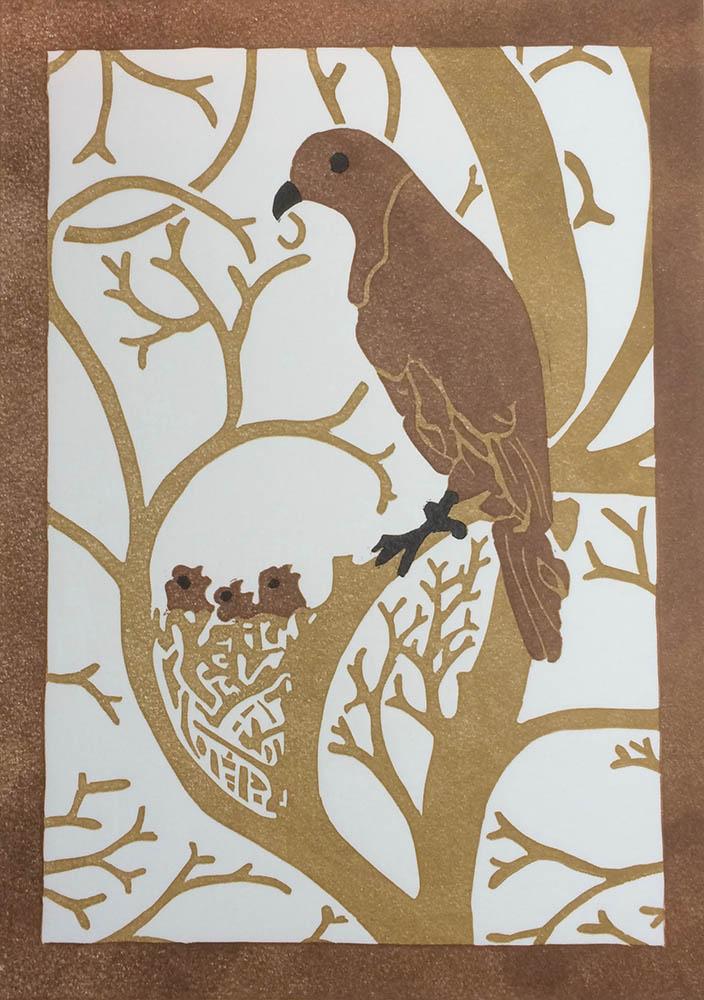 Bird - Three-Colour Reduction Linocut