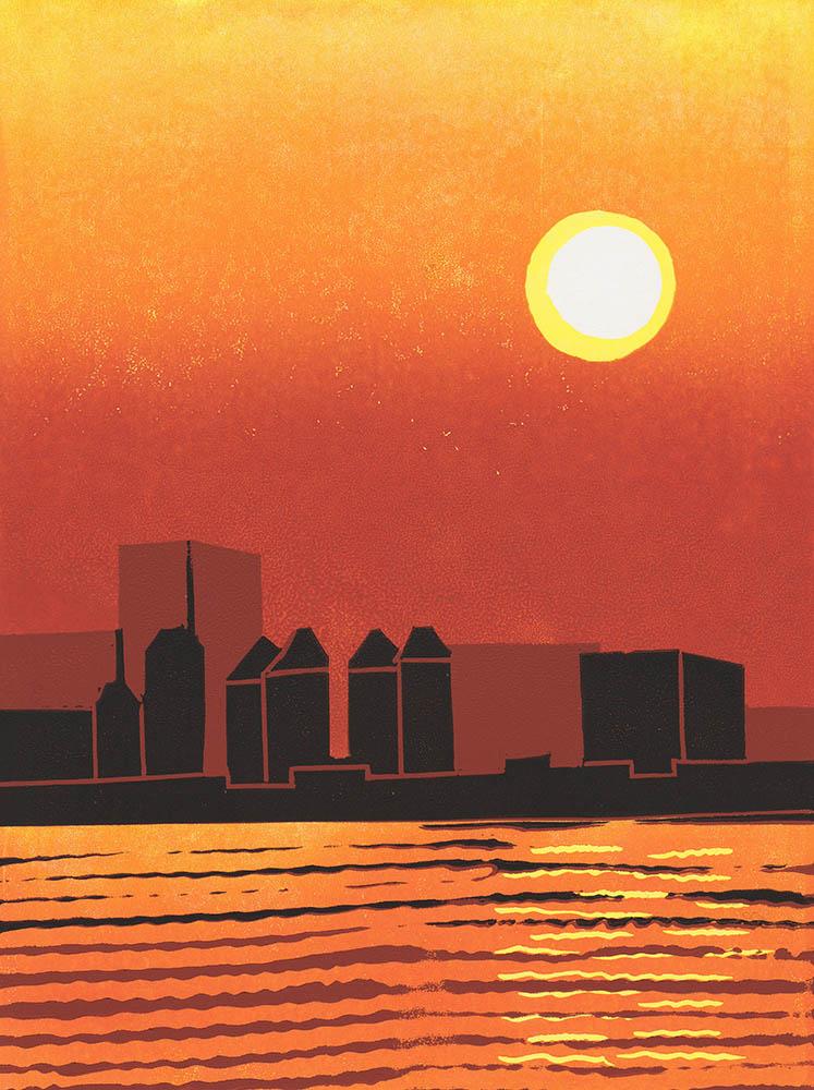Sunset over Lake Jinji, Suzhou - Linocut - Reduction