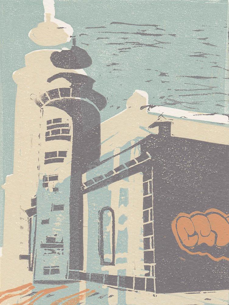 El Viejo Faro, Lanzarote - Linocut - Reduction