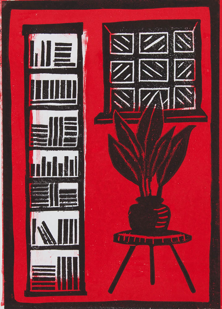 Bookcase in Red - Linocut incorporating Monoprint