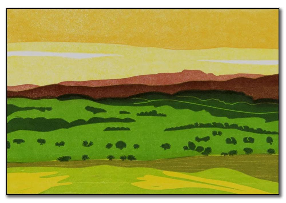 Sun Set Over Ingleborough, Keith Dickinson Printmaker
